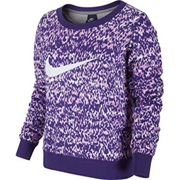5a7c0da9b Nike Club AOP Crewneck Purple & White Sweater G343.  M_5c443ea7aa8770a79937f93e